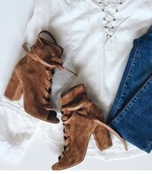 shoes,brown boots,suede boots,peep toe boots