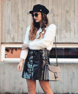 sweater tumblr white sweater fuzzy sweater cozy sweater skirt mini skirt black skirt vinyl vinyl skirt hat fisherman cap