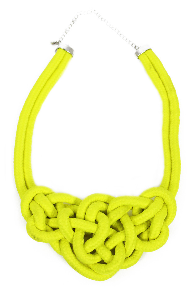 ROPE LARGE KNOT NECKLACE - Neon Yellow | Haute & Rebellious