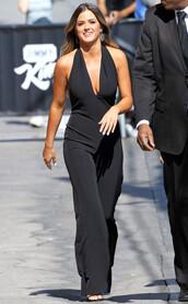 jumpsuit,black,pants,top,jojo fletcher,plunge v neck,black jumpsuit,summer outfits