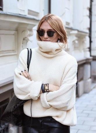 sweater knitwear knitwear sweater white off-white jumper oversized sweater oversized oversized turtleneck sweater turtleneck turtleneck sweater turtle neck long sleeve