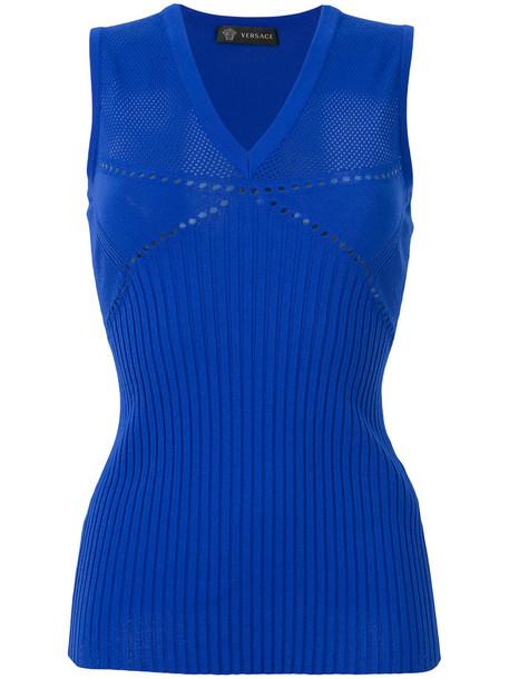 VERSACE top women blue knit