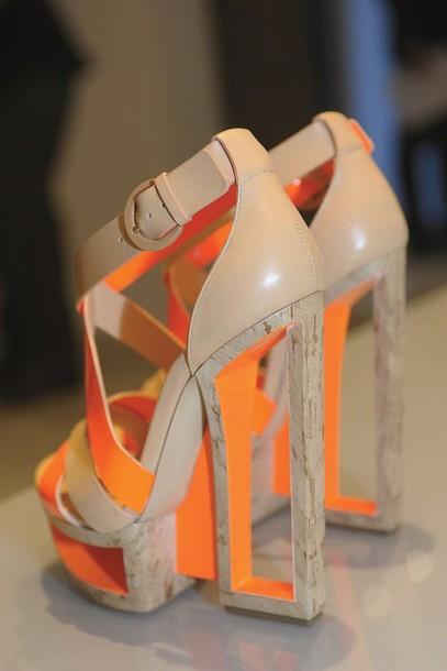 shoes, heels, neon, orange, platform