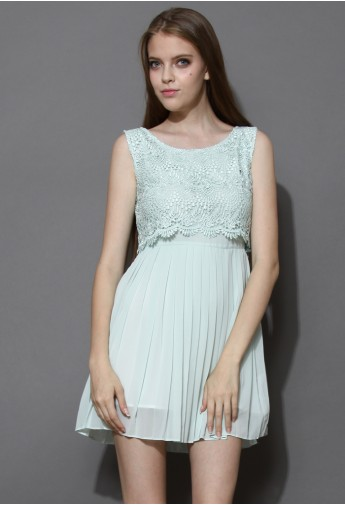 Mint Lace Bodie Pleated Chiffon Dress - Retro, Indie and Unique Fashion