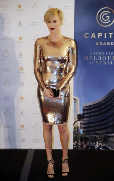 dress sandals charlize theron metallic metallic dress bodycon dress sexy gold gold dress gold sequins sequin dress tight silver