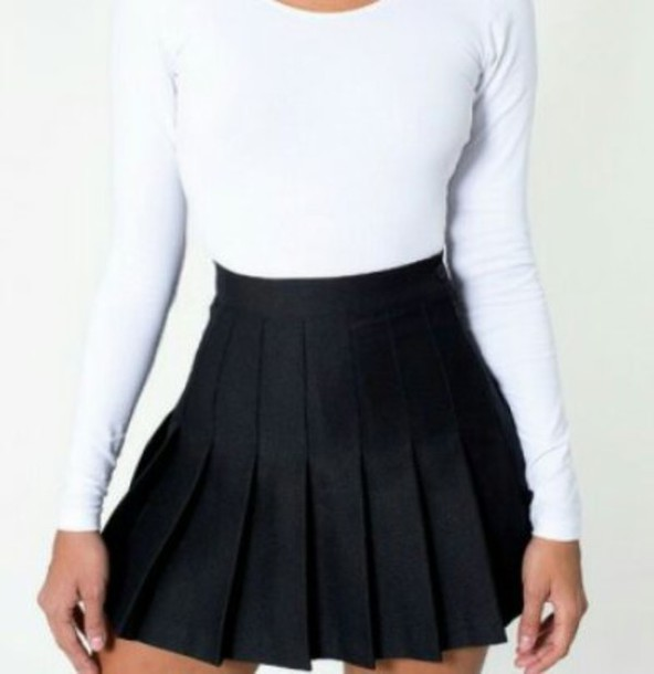 skirt black skater skirt tennis skirt school skirt cute