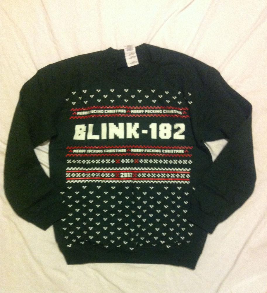 Blink 182 Merry F**king Christmas Crew Neck Mens Sweatshirt Sweater Size S NWT