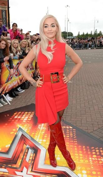 dress red dress asymmetrical dress red boots rita ora