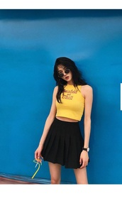 top,girly,girl,girly wishlist,yellow,crop tops,cropped,crop,quote on it