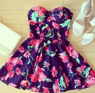 dress floral flowers navy pink flowers sweetheart neckline strapless dress skater dress