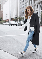 tsangtastic,blogger,casual,black coat,hite shirt,white sneakers