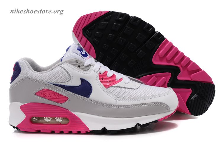 authentic nike air max 90 shoes women white grey pink. Black Bedroom Furniture Sets. Home Design Ideas