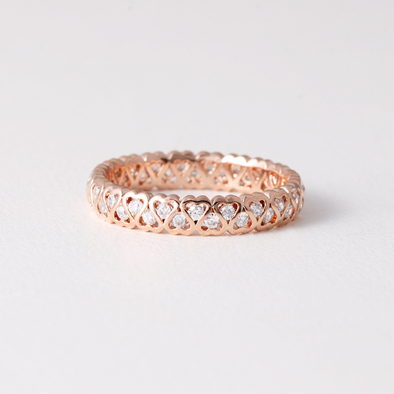 CZ Heart Eternity Band Ring Rose Gold - Kellinsilver