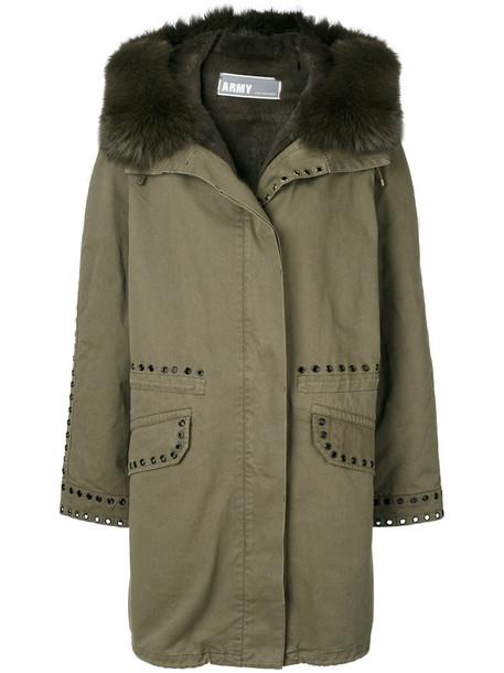 Army Yves Salomon parka fur fox women cotton green eyelet detail coat