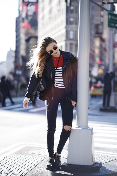 class is internal blogger sweater sunglasses leather jacket stripes ripped jeans jeans jacket bag
