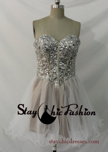 Sparkly Sequined Beading Corset Top Strapless Brown White Prom Dress Sale [SC-545] - $180.00 : Prom Dresses On Sale, Semi-formal Dresses Online|StaychicDresses