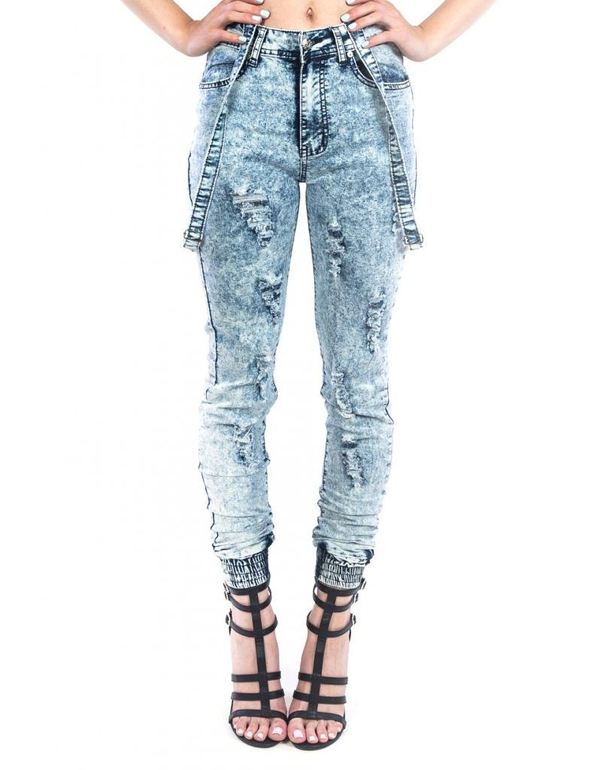 Exocet Womens Denim Jogger with Suspenders at Amazon Women's Clothing store: