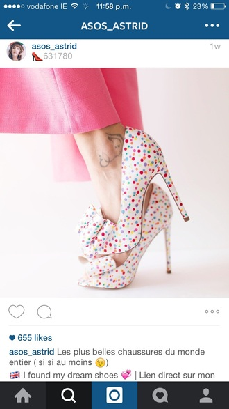 shoes asos heels french polka dots