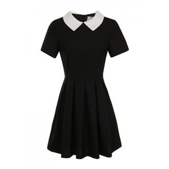 dress little black dress black preppy back to school collar peter pan collar cute cute dress shirt skirt
