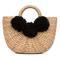 Beach basket mini 3 pom black