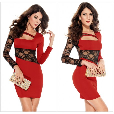 Red Long Sleeve Hollow Out Sexy Lace irregular Dress lml6009B - lol-malls - Trustful Online Shopping for Women Dresses