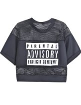 Modajay Women's Clothing - Sheinside Women's Contrast Hollow Mesh Yoke Letters Print Top