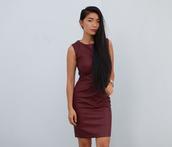 dress,leather,leather dress,burgundy dress,work dress,honey and silk,last night,party dress