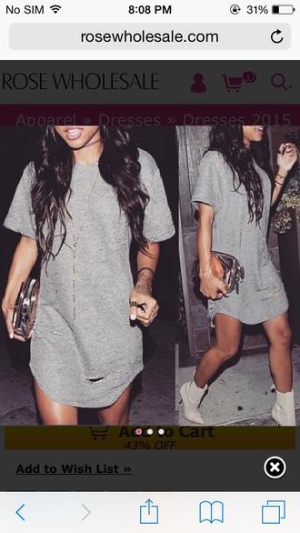 grey dress dress t-shirt dress grey wavy hair