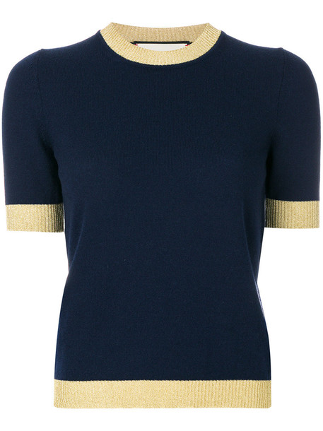 gucci top metallic women blue silk