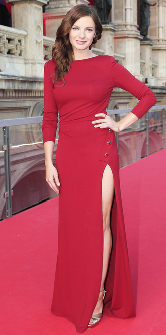 dress prom dress gown red dress slit dress rebecca ferguson prom gown
