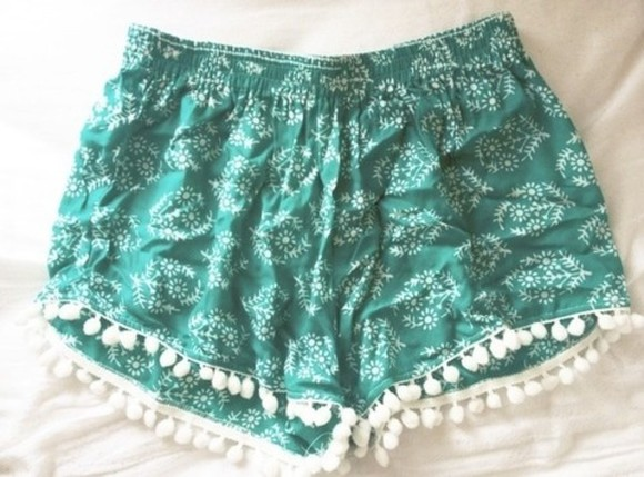 shorts green green shorts boho tropical shoes tumblr cute tumblr turquoise white summer outfits tassel tassels lace jungle jungle print adorable cool dope streetwear chic running shorts blue dots native american style fashion asian american flag boho brandy melville floral shorts aqua printed shorts pom pom