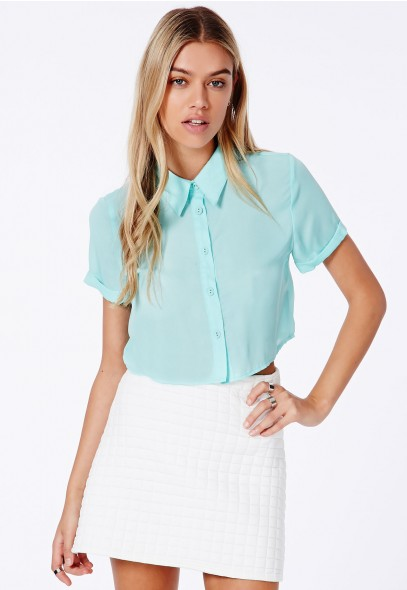Joi Cropped Blouse With Rolled Sleeves - Tops - Shirts & Blouses - Missguided