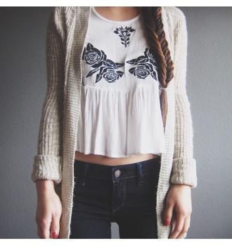 cardigan white top jeans tank top tan white fashion floral