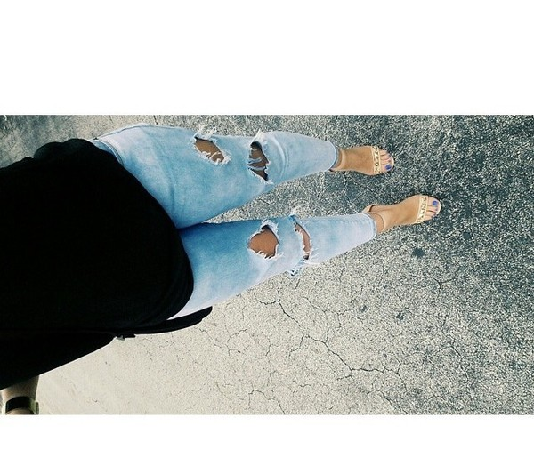 jeans acid wash ripped skinny