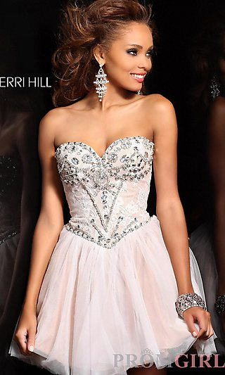 Designer Baby Doll Party Dress, Homecoming Dresses- PromGirl