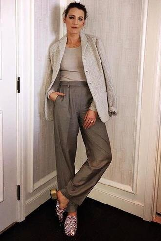 shoes pants top blake lively instagram celebrity blazer