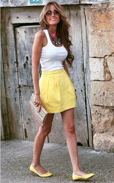 skirt yellow yellow skirt cute
