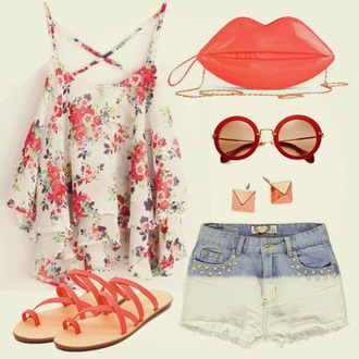top floral floral top sunglasses pink red purse bag lip purse tank top sandals shoes earrings jewels accessory accessories shorts