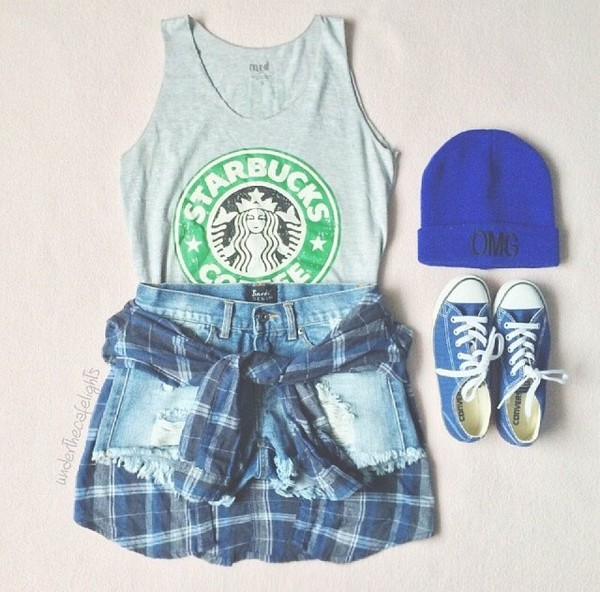 starbucks coffee converse High waisted shorts beanie tank top blue plaid skirt top t-shirt
