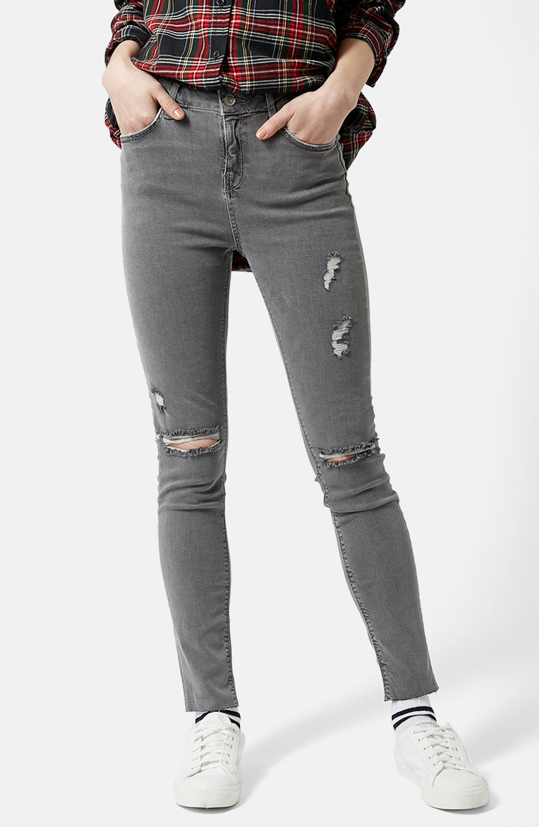 Moto 'Jamie' Ripped Skinny Jeans (Grey) (Regular & Short) | Nordstrom
