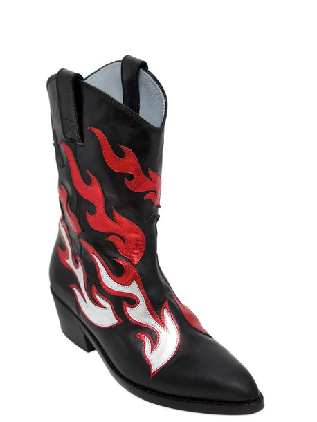 Chiara Ferragni cowboy boots boots leather black red shoes