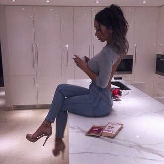 top grey top backless top half sleeve crop tops