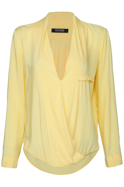 ROMWE | Asymmetric Crossed Pocketed Yellow Shirt, The Latest Street Fashion
