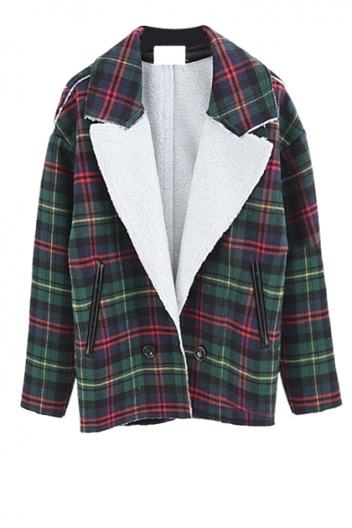 Comfrotable notched lapel coat in plaid print