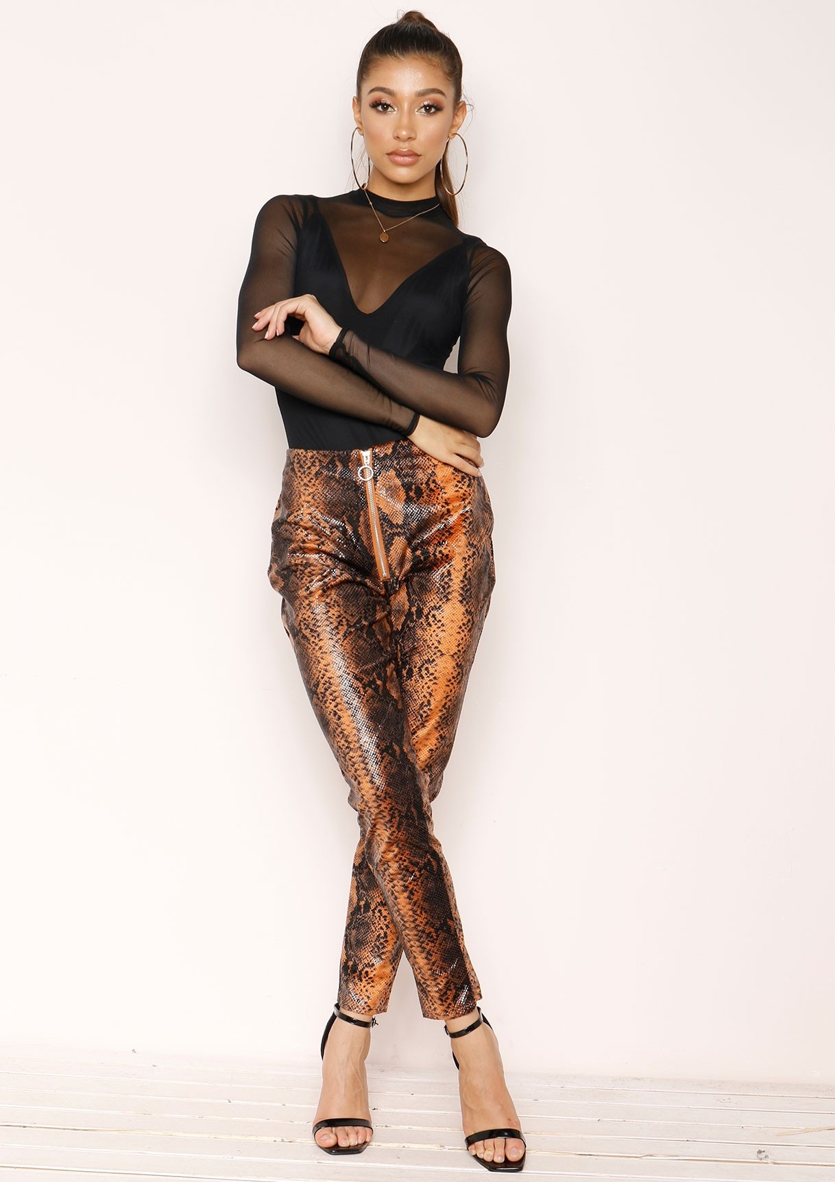 Jordin Orange Snake Print Trousers