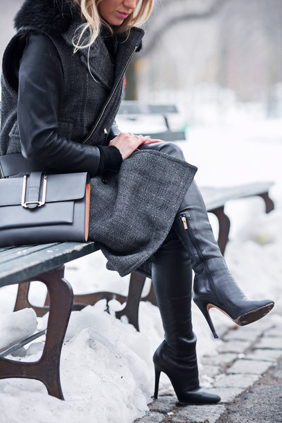 5 inch and up blogger coat black boots leather jacket shoes bag jewels