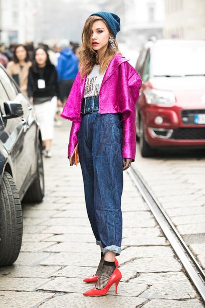 c0de134d3408 jeans socks purple beani tumblr blue jeans denim baggy cuffed jeans pumps  pointed toe pumps high