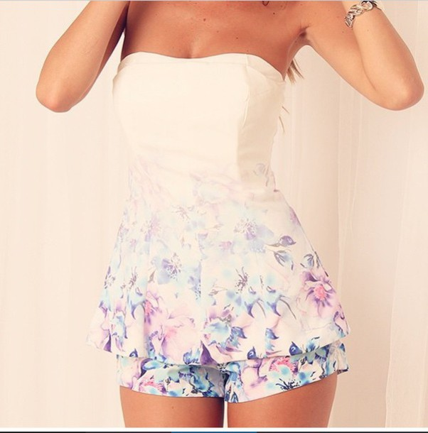 girly fashion style floral dress romper top dress shorts