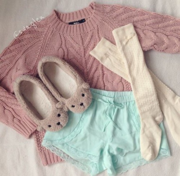 shorts pyjamas shorts pastel sweater slippers socks shoes pants pajamas