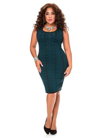 Piped Speckled Sweater Dress-Plus Size Dresses-Ashley Stewart